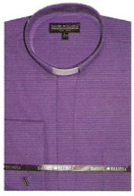 SKU#CM998 65% Poly Mens Banded Collar dress shirts without collars Mandarin Collarless Purple
