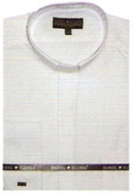 SKU#TY611 65% Poly Mens Banded Collar Shirt White $65