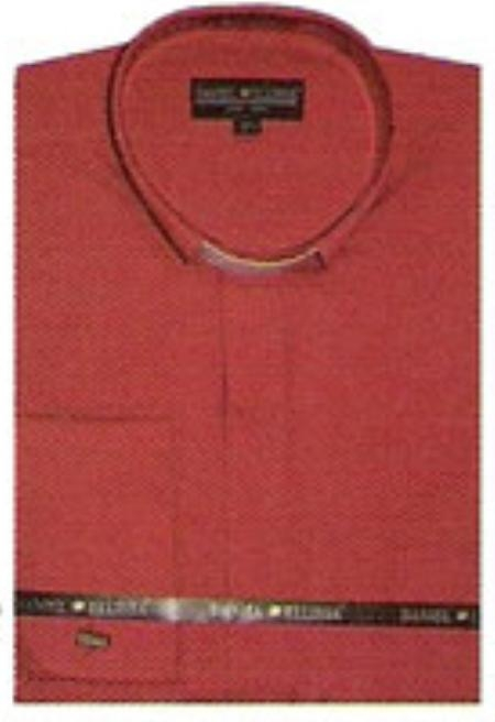SKU#WW322 65% Poly Mens Banded Collar Shirt Red $39