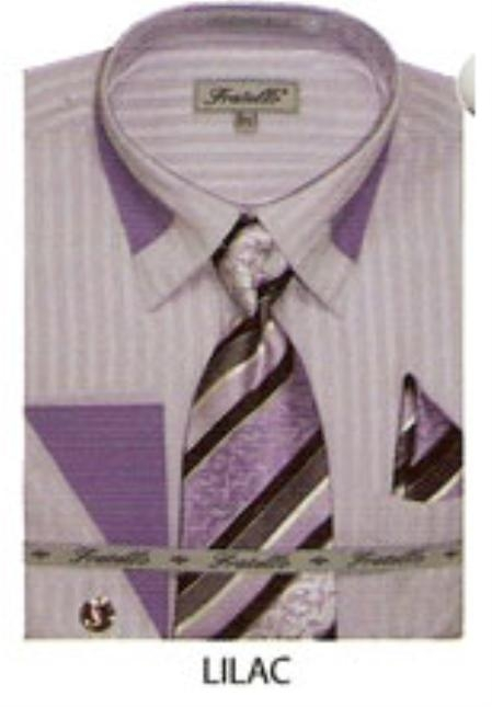 SKU#DM431 65% Poly Mens french cuff shirt patched on collar Lilac $65