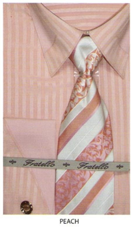 SKU#RF742 65% Poly Mens french cuff shirt patched on collar Peach $65