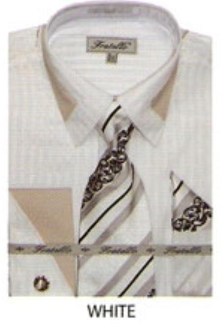 SKU#EV455 65% Poly Mens french cuff shirt patched on collar White $65
