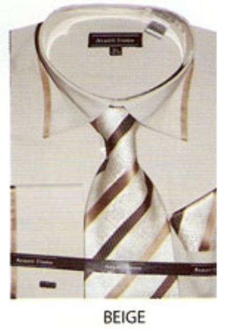SKU#YC413 65% Poly Mens trimmed french cuff dress shirt Beige $65