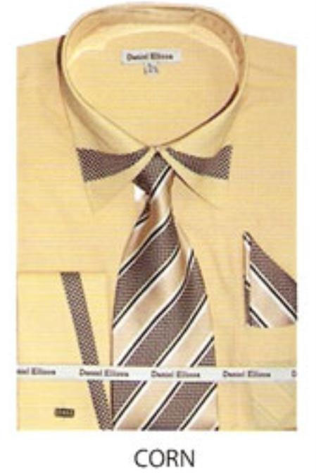 SKU#BX632 65% Poly Mens trimmed french cuff dress shirt Corn $65