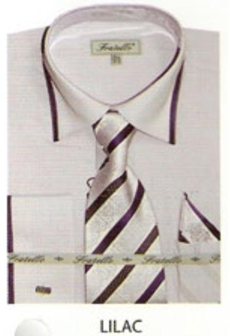 SKU#FN674 65% Poly Mens trimmed french cuff dress shirt Lilac $65