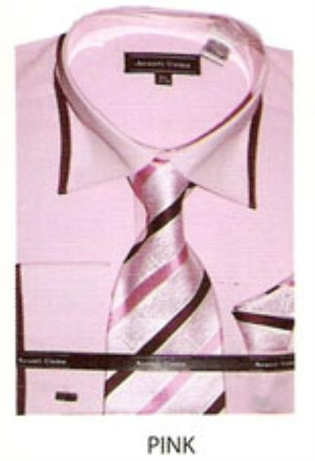SKU#TV642 65% Poly Mens trimmed french cuff dress shirt Pink $65