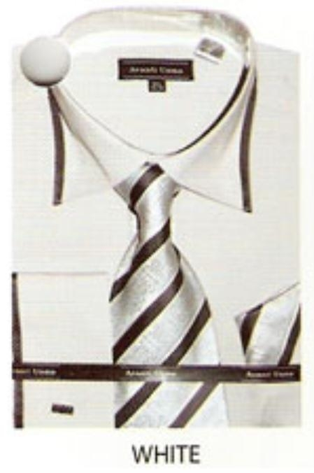 SKU#TM634 65% Poly Mens trimmed french cuff dress shirt White $65