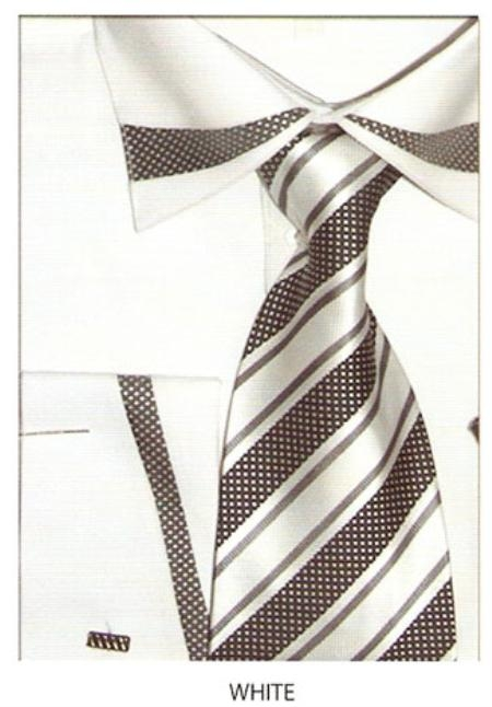 SKU#TC534 65% Poly Mens trimmed french cuff dress shirt White $65