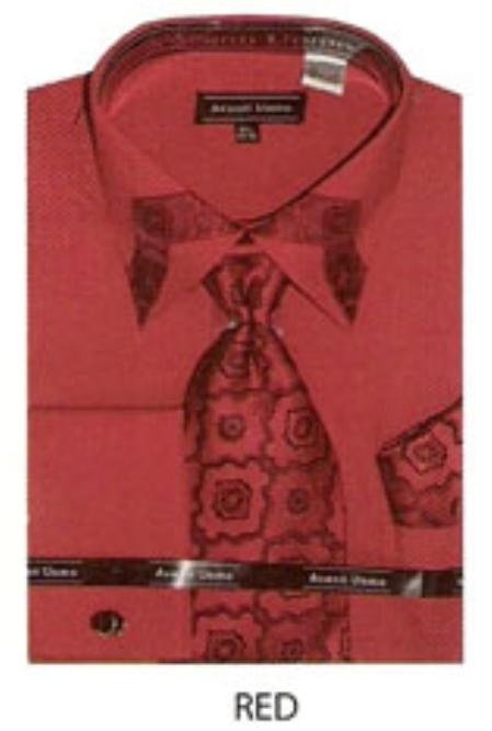SKU#TX353 60% Cotton Mens trimmed french cuff shirt Red $65