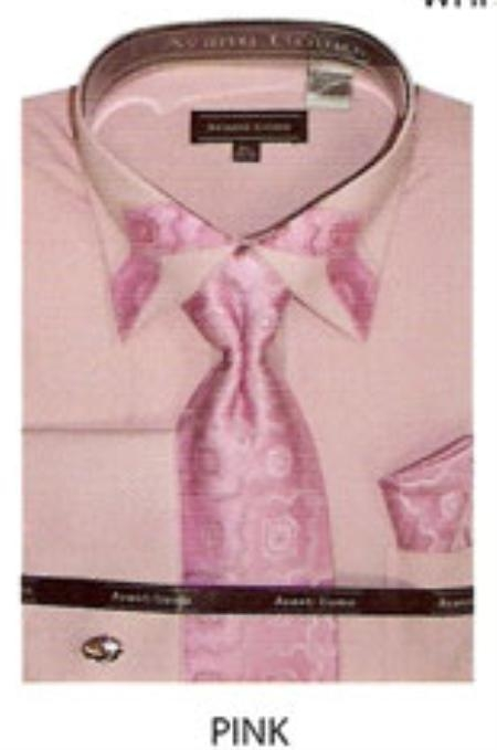 SKU#GN553 60% Cotton Mens trimmed french cuff shirt Pink $65