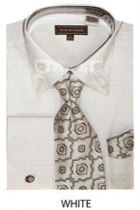 MensUSA Cotton Mens trimmed french cuff shirt White at Sears.com