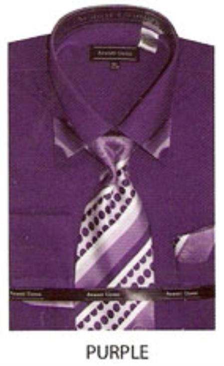 SKU#QV447 60% Cotton Mens trimmed on collar french cuff shirt Purple $65