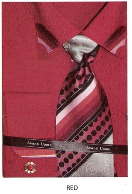SKU#YF201 60% Cotton Mens trimmed on collar french cuff shirt Red $65