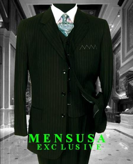 SKU# TY09L Mens 3 Piece 3 Buttons Vested Olive Green Pinstripe Super 120s Wool $175