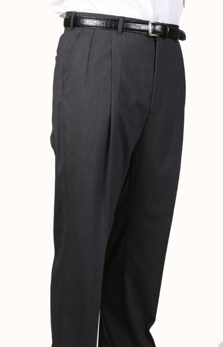 SKU#UZ1999 99% Worsted Wool Gray, Parker, Pleated Pants Lined Trousers $99