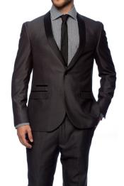 Charcoal 1 Button Slim Fitted Shawl Tuxedo