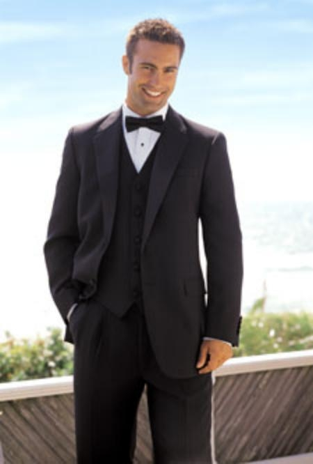SKU# KL_TX_01 1 Button Plain Soft 3 Pieces Vested Tuxedo Super 150s Wool Suit + Tuxedo Shirt $195