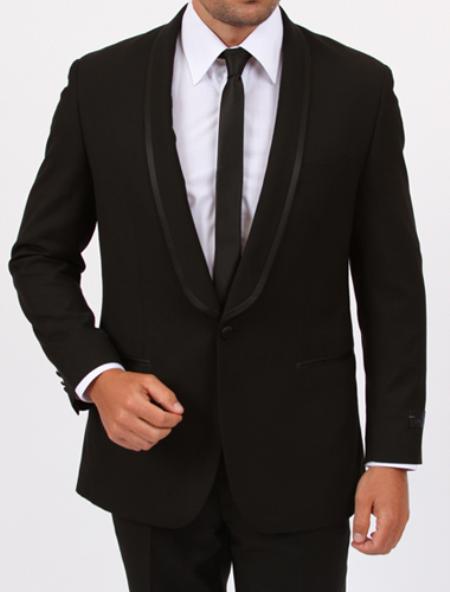 SKU#FX4009 Tapered Leg Lower Rise Pants & Get Skinny 1 Button Shawl collar Slim Fit Center Vent Black Tuxedo
