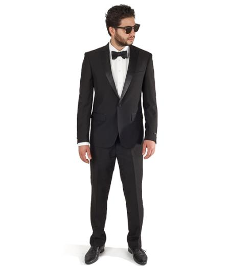 1 Button Peak Lapel Tuxedo Cotton Blend Slim Fit Flat Front Pants Black