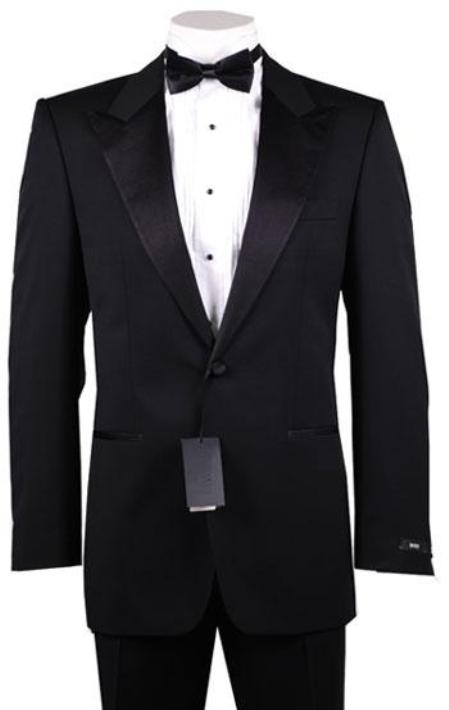 SKU#T23 1or2 Button Peak Lapel 100% Wool Designer Side Vented Tuxedo Suit