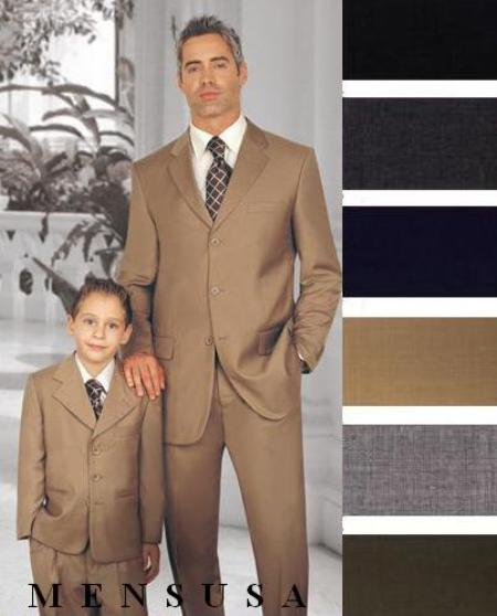 SKU# GTD438 1 Men + 1 Boy MATCHING SET FOR BOTH FATHER AND SON 2 or 3 Buttons option WOOL SUIT