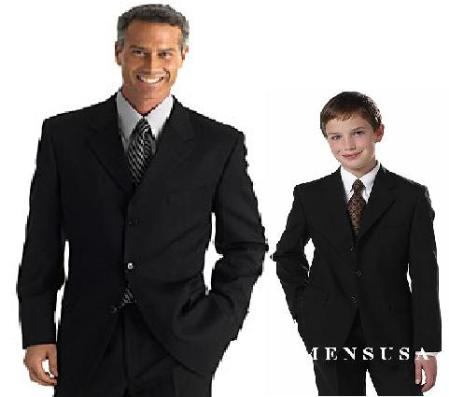 SKU# XWQ404 1 Men + 1 Boy MATCHING SET FOR BOTH FATHER AND SON 3 Button WOOL SUIT $289