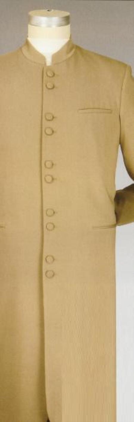 SKU#KJ23 10-button front 45 Inch Long Mandarin banded Collar Long Jacket king Matrix Style Suit