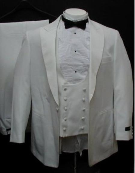 Tux-104 1 Button Peak Lapel White Tuxedo Suit With Double Breasted Satin Vest $139