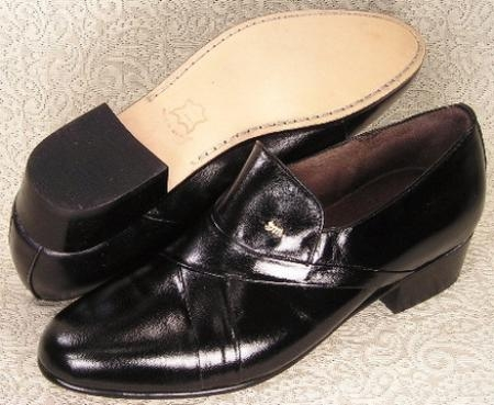 SKU#24461 1/2 inch stacked heel slipon shoe features soft calfskin leather upper leather sole $99