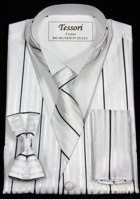 SKU#MT1236 WHITE 4PC VEST SET WITH VEST, BOW TIE, TIE AND HANKIE $75