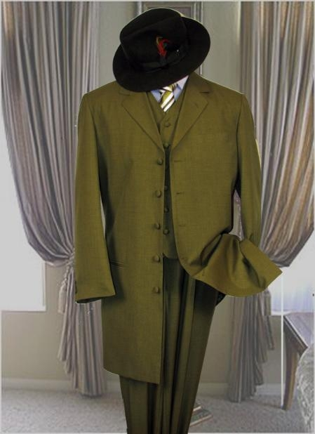 SKU# EMM357 AC-125 OLIVE 3PC ZOOT SUIT WITH VEST 38INCH LONG JACKET WITH COVERED BUTTON $299