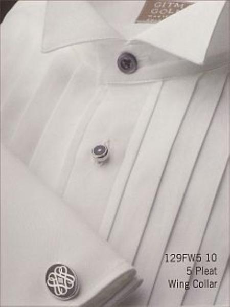 Gitman 129FW510 White 100% Cotton 5 Pleat Wing Collar  French Cuffs $95