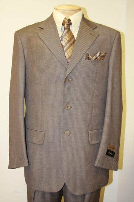 SKU#3RS15 Light Weight Beautiful Taupe~Beige With Pinstripe Single Breasted Suit $139