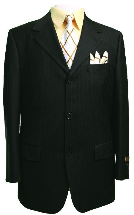 SKU#3RS-15 Light Weight Beautiful Black With Small Pinstripe Single Breasted Suit $139