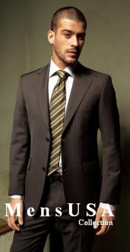 SKU# 2TT-1 Brown Small Shadow Ton on Ton Stripe Light Weight Fabric Suit Comes in 4 Colors 2 Button