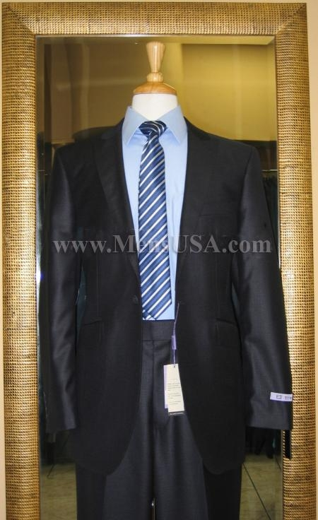 SKU#XY5453 1 Button Navy Solid 100% Wool  Flat Front Fitted Suit $179