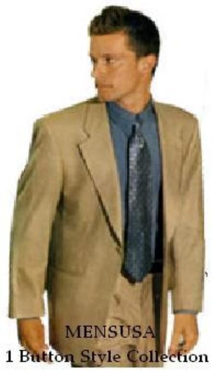 SKU NSF433 1 Button Notch Laple Tan Beige Mens Dress Soft Light Weight Suits