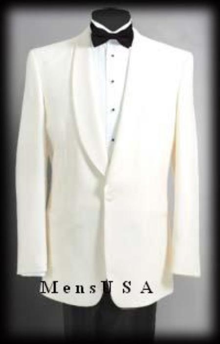 SKU# 8467C 1 Button Shawl Lapel Dinner Jackets - Ivory (Cream ~ Ivory ~ Off White)100% Tropical Wool $249