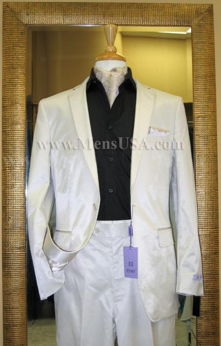 SKU#YU5839 2 Button Shiny Off-White Double Vented Cotton Blend Flat Front Fitted Suit $179