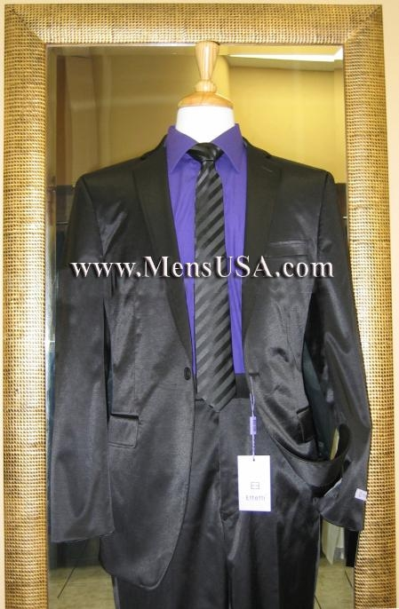 SKU#GB8999 1 Button Shiny Black Center Vented Cotton Blend Flat Front Fitted Suit $179