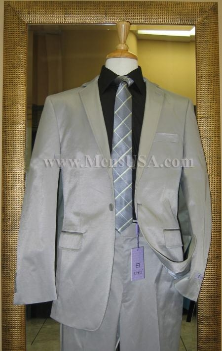 SKU#BF4100 1 Button Shiny Grey Center Vented Cotton Blend Flat Front Fitted Suit $179