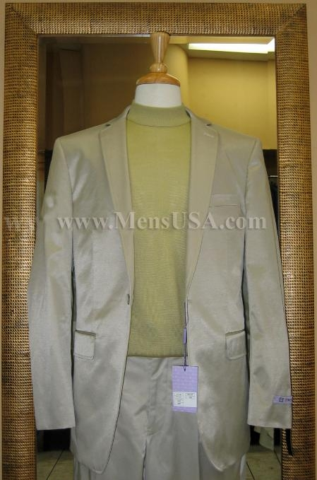 SKU#LZ9957 1 Button Shiny Sage Color Center Vented Cotton Blend Flat Front Fitted Suit $159