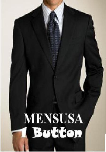 SKU# SB1 Exclusive New Style Mens Solid Black 1 Button  Super 150s Wool Dress Suits $175