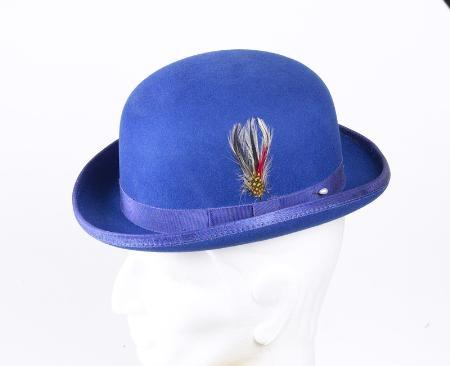 SKU# FG3 100% Genuine Deluxe Fur Felt Classic Wool Derby Royal Blue Hat $49