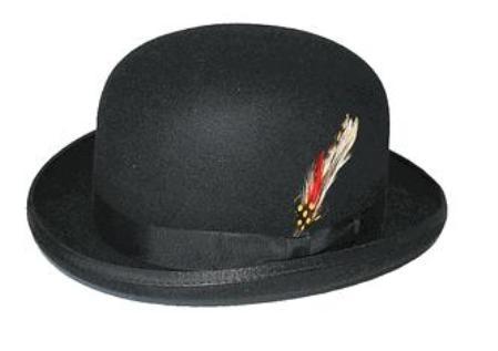 SKU# FG3 100% Genuine Deluxe Fur Felt Classic Wool bowler derby style ~ Bowler Black Hat $49