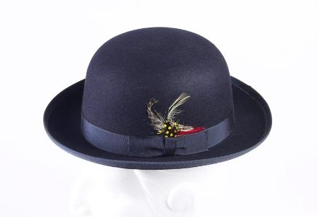 SKU# FG3 100% Genuine Deluxe Fur Felt Classic Wool Derby Navy Blue Hat $49