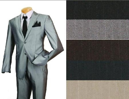 SKU#MUS2RR1 Single Breasted, 2 buttons, 2 pcs suit. Side Vents. Flat front pants . Peak lapel. Slim