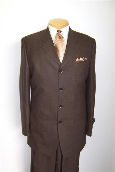 SKU# YRE376 100% Wool Super 150s Wool 4 Buttons Brown Suits $139