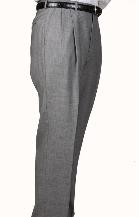 SKU#JK4078 100% Worsted Wool Gray, Parker, Pleated Pants Lined Trousers