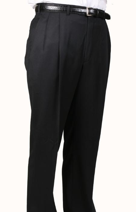 SKU#BR6964 100% Worsted Wool Black, Parker, Pleated Pants Lined Trousers